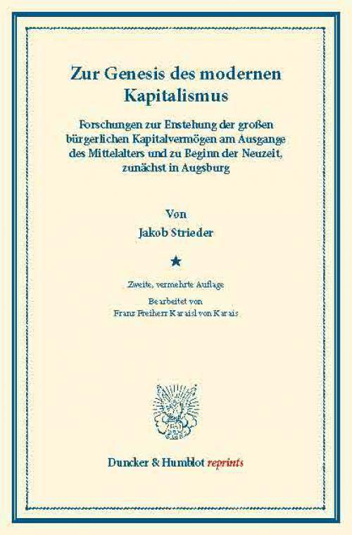 Zur Genesis des modernen Kapitalismus. cover