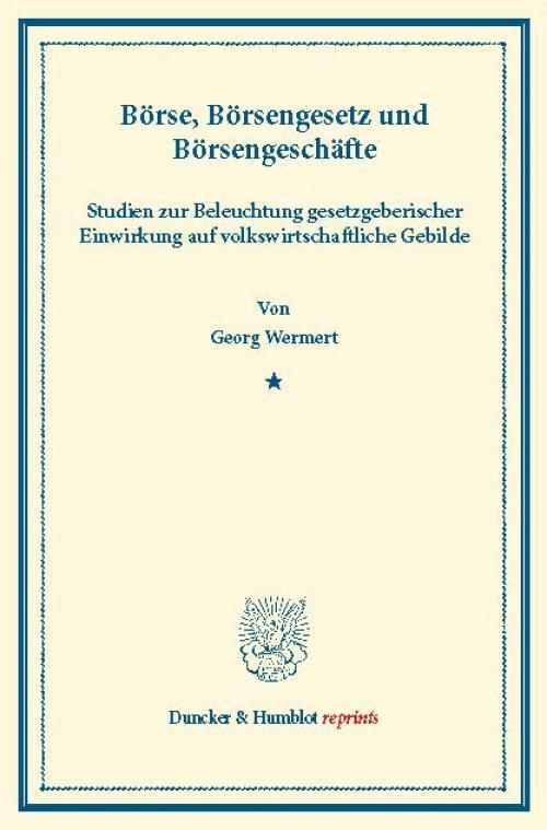 Börse, Börsengesetz und Börsengeschäfte. cover
