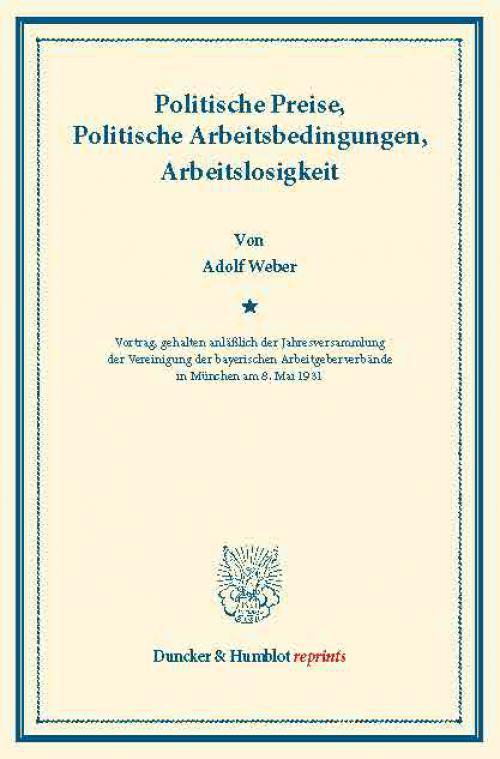 Politische Preise, Politische Arbeitsbedingungen, Arbeitslosigkeit. cover