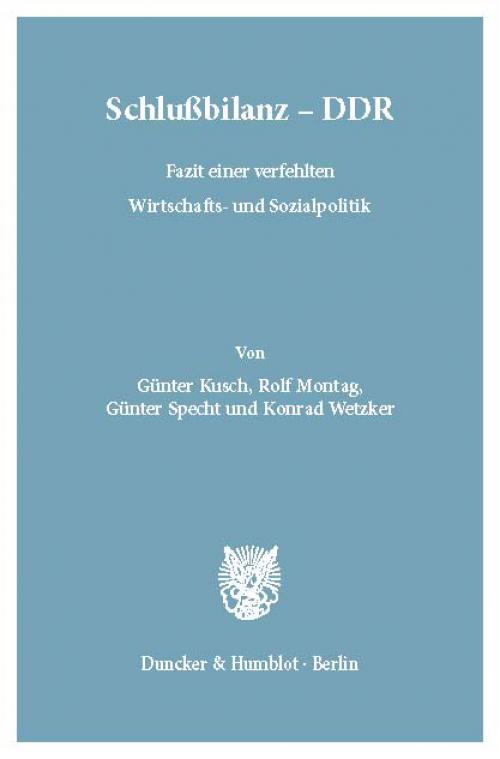 Schlußbilanz – DDR. cover