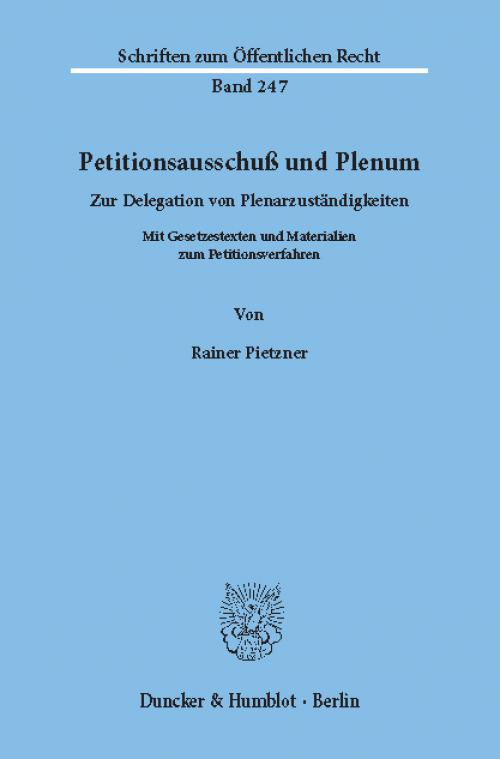 Petitionsausschuß und Plenum. cover