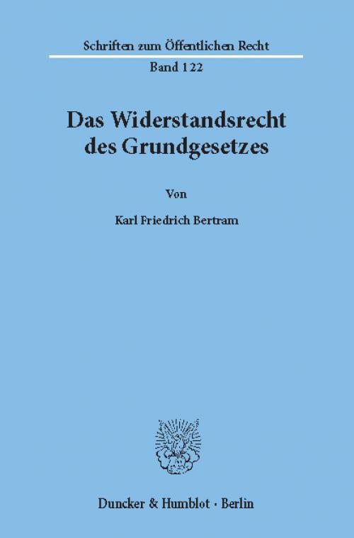 Das Widerstandsrecht des Grundgesetzes. cover