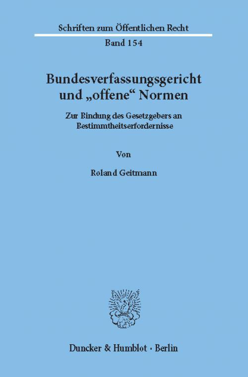 Bundesverfassungsgericht und »offene« Normen. cover