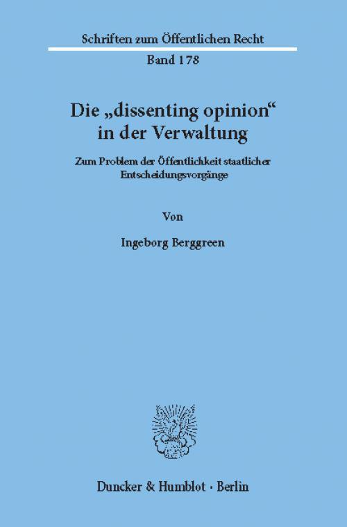 Die »dissenting opinion« in der Verwaltung. cover