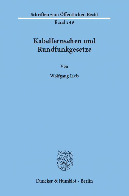 Kabelfernsehen und Rundfunkgesetze. cover