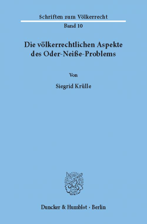 Die völkerrechtlichen Aspekte des Oder-Neiße-Problems. cover