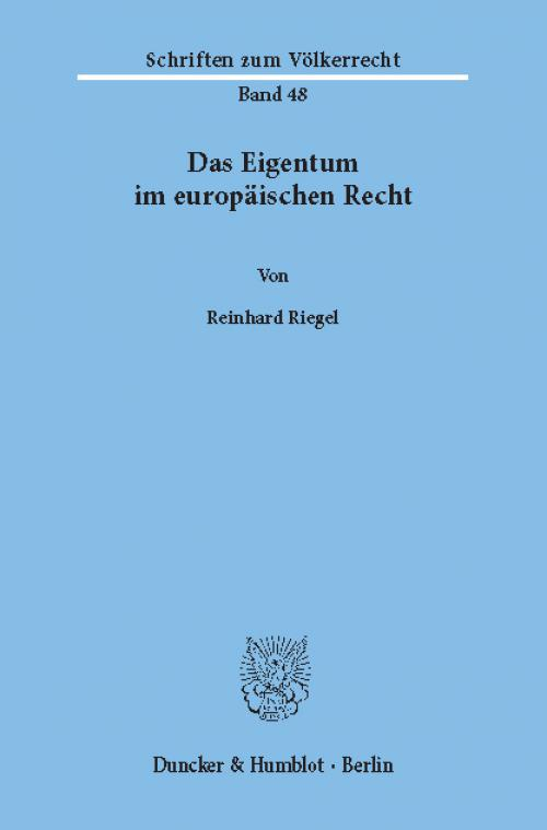 Das Eigentum im europäischen Recht. cover