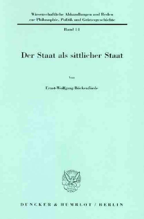Der Staat als sittlicher Staat. cover