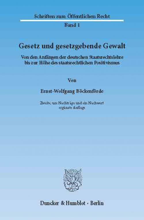 Gesetz und gesetzgebende Gewalt. cover