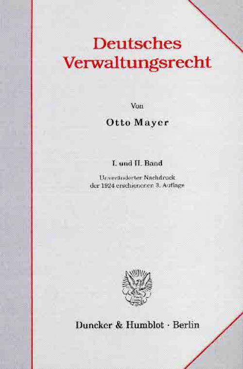 Deutsches Verwaltungsrecht. I. und II. Band. cover