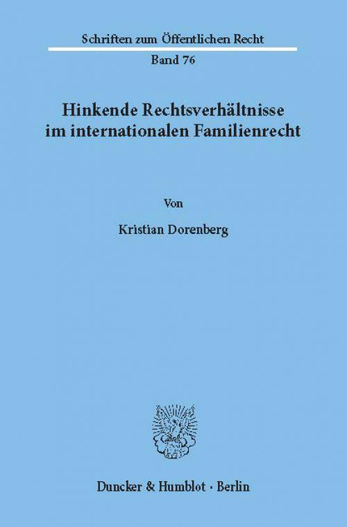 Hinkende Rechtsverhältnisse im internationalen Familienrecht. cover