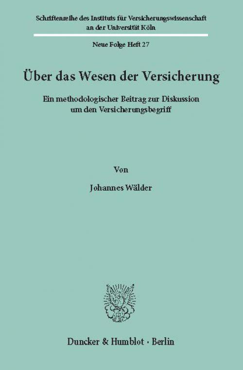 Über das Wesen der Versicherung. cover