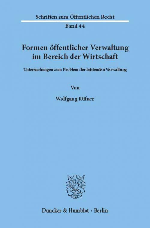 Formen öffentlicher Verwaltung im Bereich der Wirtschaft. cover