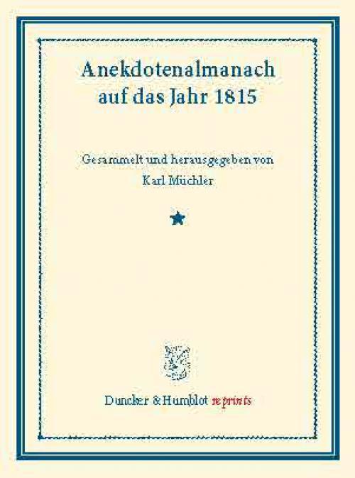 Anekdotenalmanach auf das Jahr 1815. cover