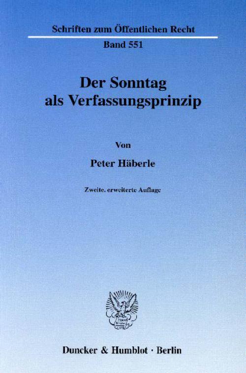 Der Sonntag als Verfassungsprinzip. cover