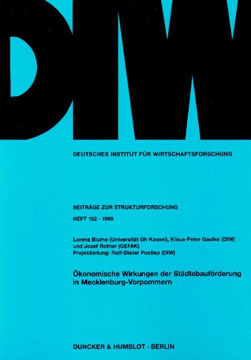 Ökonomische Wirkungen der Städtebauförderung in Mecklenburg-Vorpommern. cover