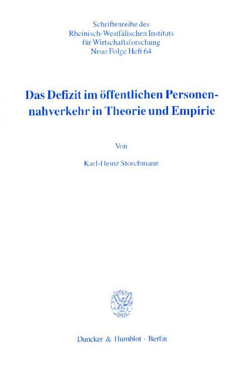 Das Defizit im öffentlichen Personennahverkehr in Theorie und Empirie. cover