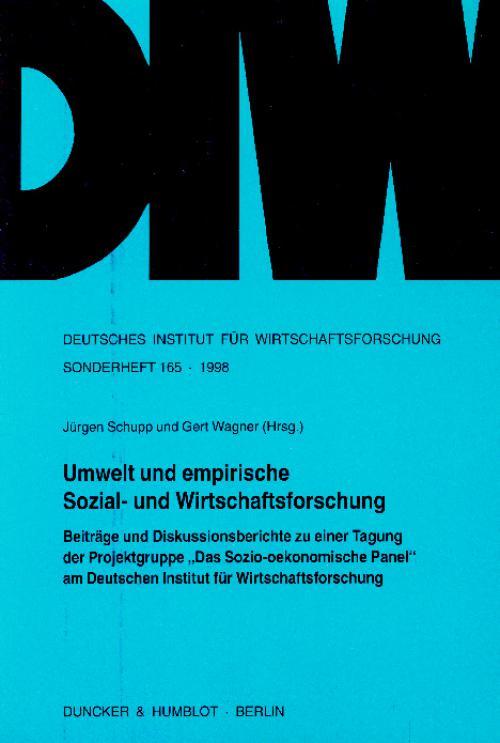Umwelt und empirische Sozial- und Wirtschaftsforschung. cover