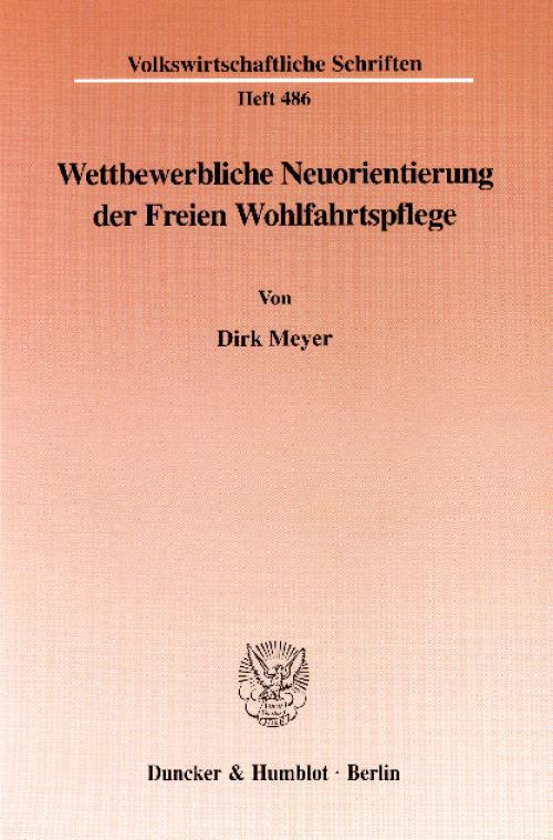 Wettbewerbliche Neuorientierung der Freien Wohlfahrtspflege. cover