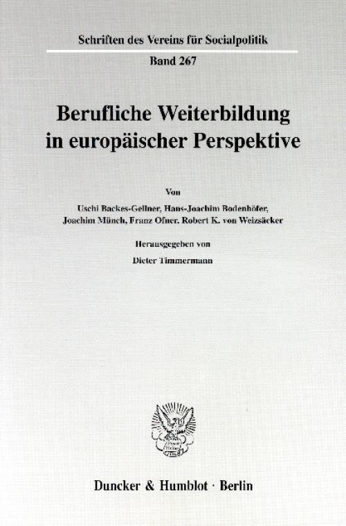 Berufliche Weiterbildung in europäischer Perspektive. cover