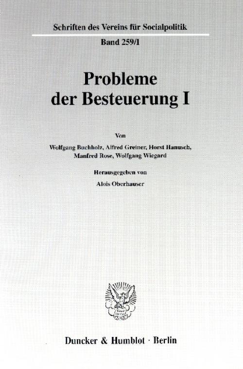 Probleme der Besteuerung I. cover