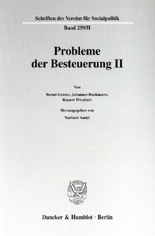 Probleme der Besteuerung II. cover