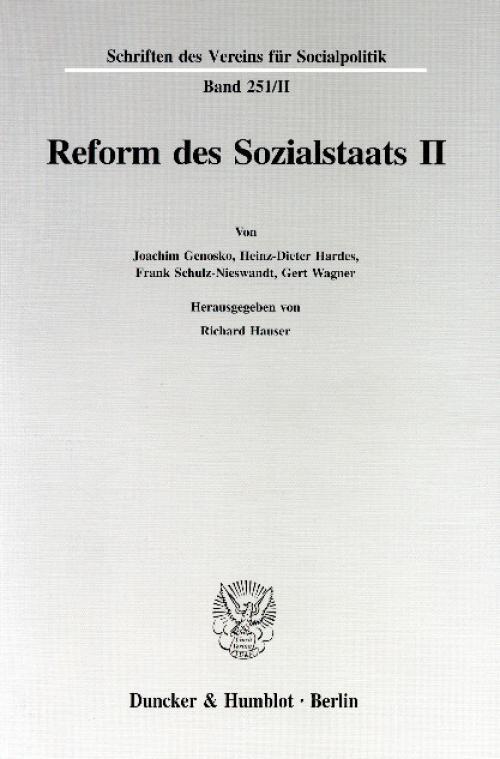 Reform des Sozialstaats II. cover