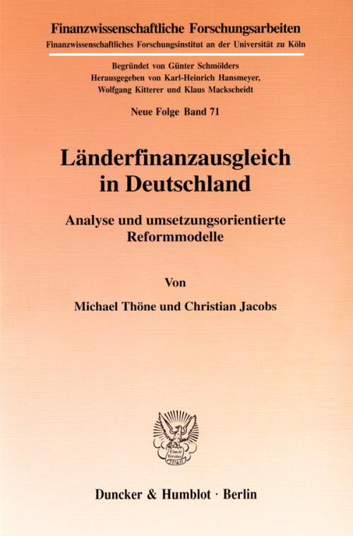 Länderfinanzausgleich in Deutschland. cover
