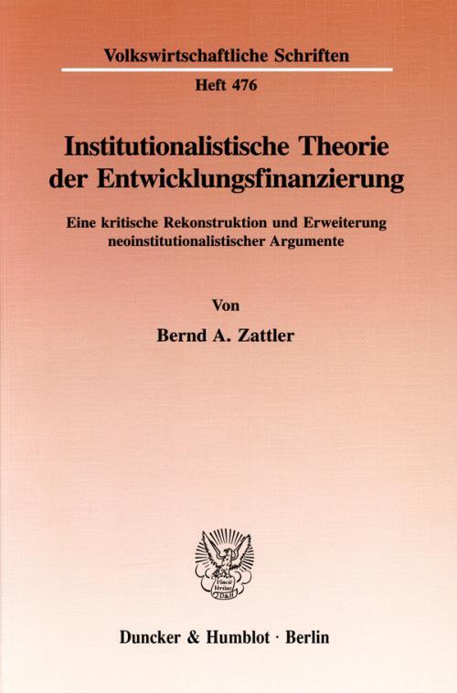 Institutionalistische Theorie der Entwicklungsfinanzierung. cover