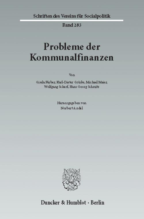 Probleme der Kommunalfinanzen. cover