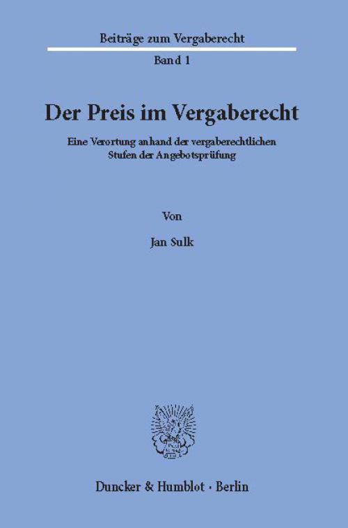 Der Preis im Vergaberecht. cover