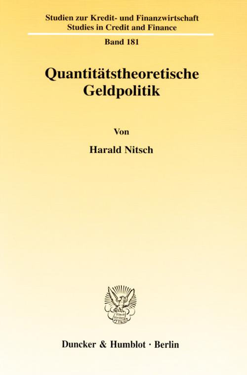 Quantitätstheoretische Geldpolitik. cover