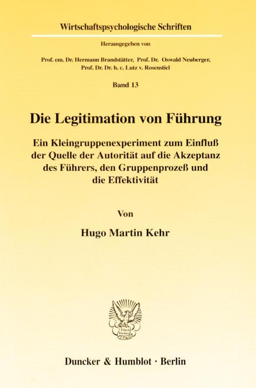 Die Legitimation von Führung. cover