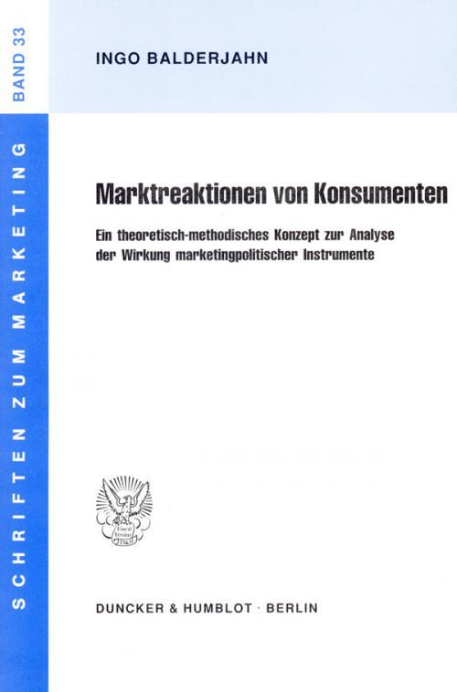 Marktreaktionen von Konsumenten. cover