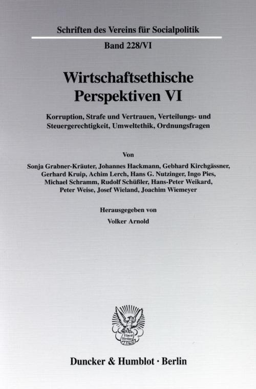 Wirtschaftsethische Perspektiven VI. cover