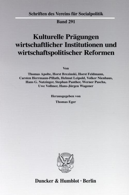 Kulturelle Prägungen wirtschaftlicher Institutionen und wirtschaftspolitischer Reformen. cover