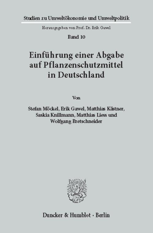 Einführung einer Abgabe auf Pflanzenschutzmittel in Deutschland. cover