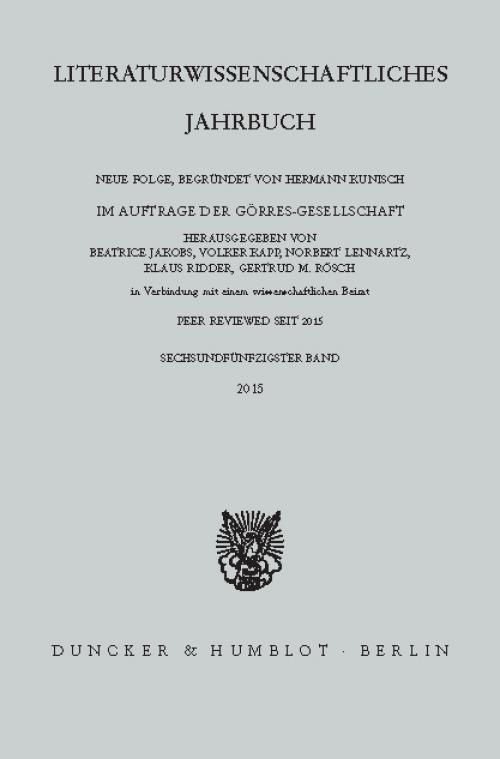 Literaturwissenschaftliches Jahrbuch. cover