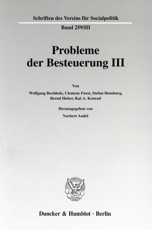 Probleme der Besteuerung III. cover