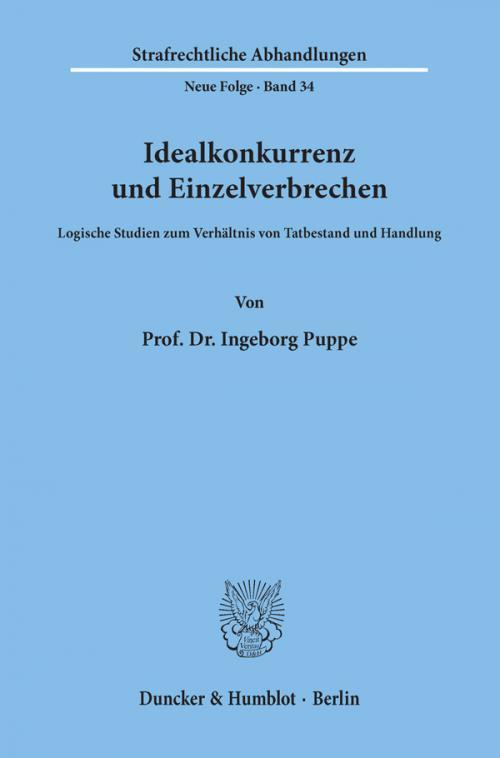 Idealkonkurrenz und Einzelverbrechen. cover