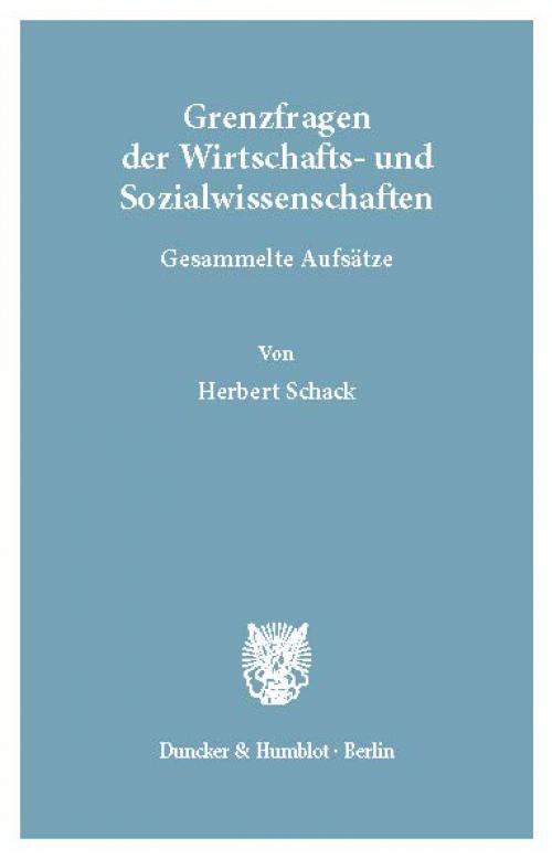 Grenzfragen der Wirtschafts- und Sozialwissenschaften. cover
