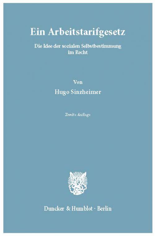 Ein Arbeitstarifgesetz. cover