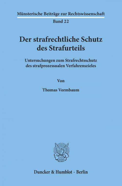 Der strafrechtliche Schutz des Strafurteils. cover