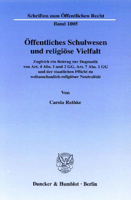 Öffentliches Schulwesen und religiöse Vielfalt. cover