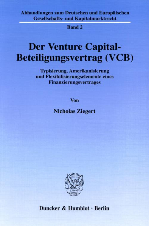 Der Venture Capital-Beteiligungsvertrag (VCB). cover