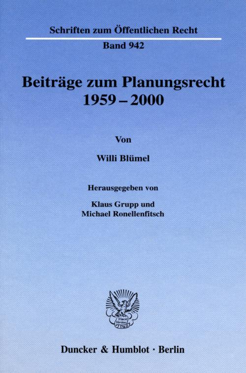 Beiträge zum Planungsrecht 1959-2000. cover