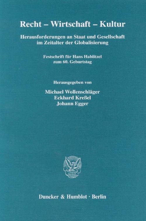 Recht - Wirtschaft - Kultur. cover