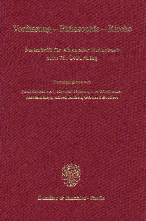 Verfassung - Philosophie - Kirche. cover
