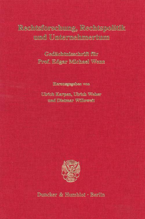 Rechtsforschung, Rechtspolitik und Unternehmertum. cover