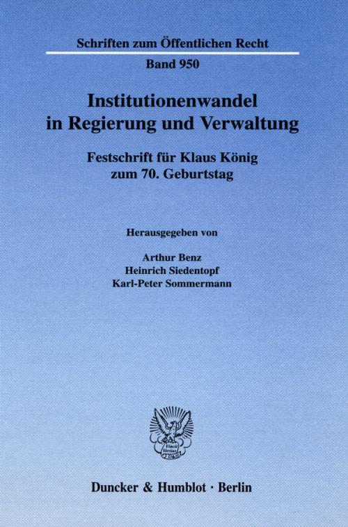 Institutionenwandel in Regierung und Verwaltung. cover